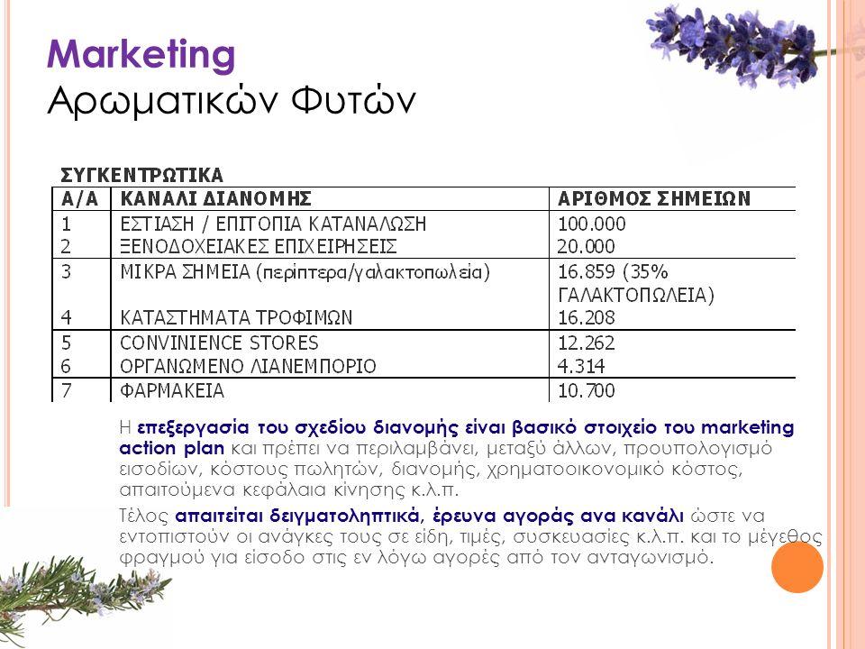 Marketing Αρωματικών Φυτών Η επεξεργασία του σχεδίου διανομής είναι βασικό στοιχείο του marketing action plan και πρέπει να περιλαμβάνει, μεταξύ άλλων, προυπολογισμό εισοδίων, κόστους πωλητών, διανομής, χρηματοοικονομικό κόστος, απαιτούμενα κεφάλαια κίνησης κ.λ.π.
