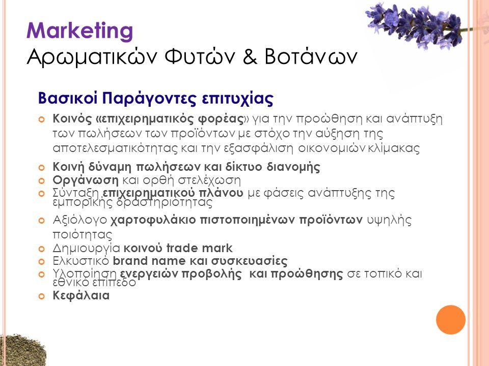 Marketing Αρωματικών Φυτών & Βοτάνων Βασικοί Παράγοντες επιτυχίας Κοινός «επιχειρηματικός φορέας » για την προώθηση και ανάπτυξη των πωλήσεων των προϊόντων με στόχο την αύξηση της αποτελεσματικότητας και την εξασφάλιση οικονομιών κλίμακας Κοινή δύναμη πωλήσεων και δίκτυο διανομής Οργάνωση και ορθή στελέχωση Σύνταξη επιχειρηματικού πλάνου με φάσεις ανάπτυξης της εμπορικής δραστηριότητας Αξιόλογο χαρτοφυλάκιο πιστοποιημένων προϊόντων υψηλής ποιότητας Δημιουργία κοινού trade mark Ελκυστικό brand name και συσκευασίες Υλοποίηση ενεργειών προβολής και προώθησης σε τοπικό και εθνικό επίπεδο Κεφάλαια