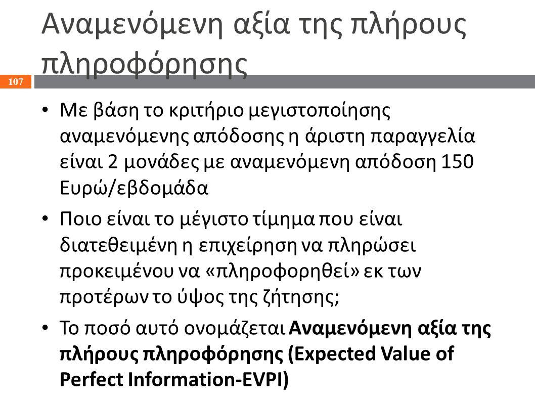 Αναμενόμενη αξία της πλήρους πληροφόρησης Με βάση το κριτήριο μεγιστοποίησης αναμενόμενης απόδοσης η άριστη παραγγελία είναι 2 μονάδες με αναμενόμενη