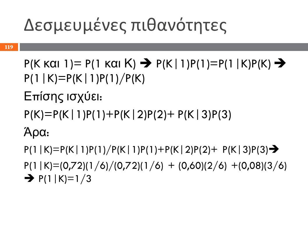 Δεσμευμένες πιθανότητες P(K και 1)= P(1 και Κ )  P(K|1)P(1)=P(1|K)P(K)  P(1|K)=P(K|1)P(1)/P(K) Ε π ίσης ισχύει : P(K)=P(K|1)P(1)+P(K|2)P(2)+ P(K|3)P