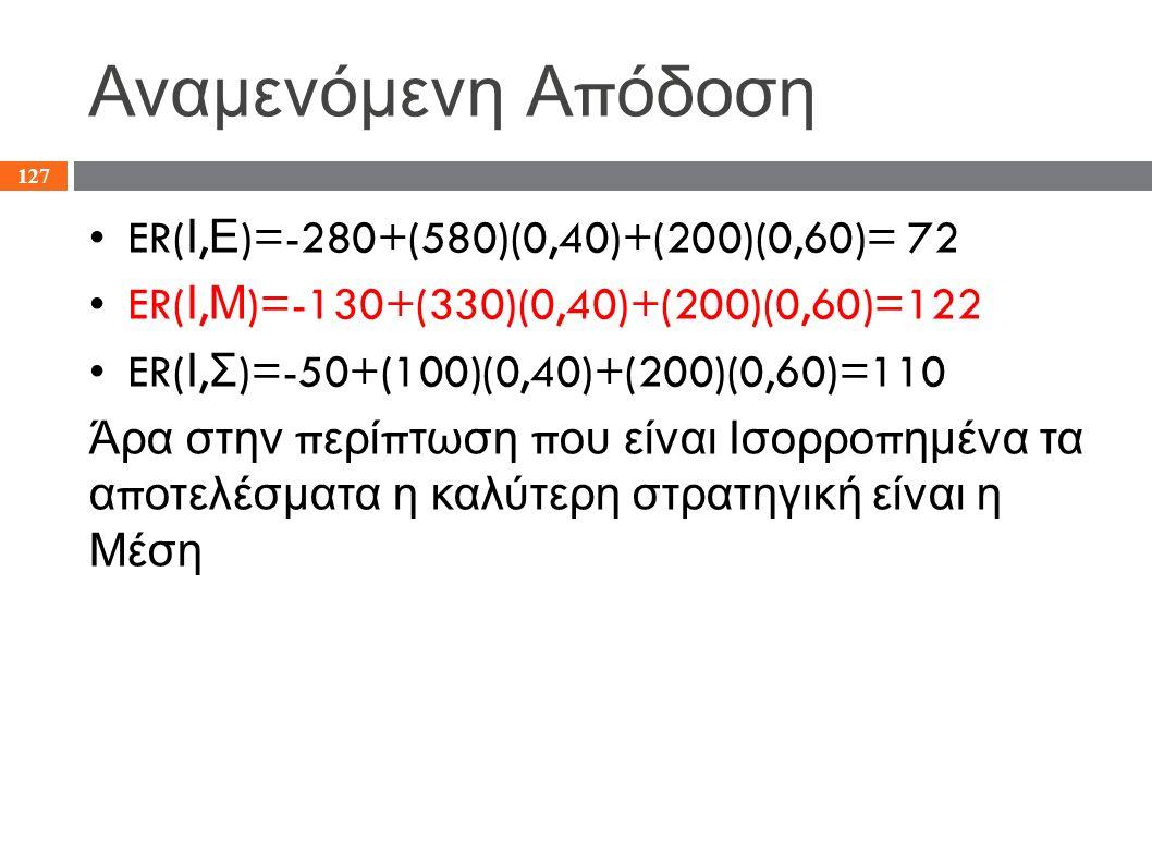 Αναμενόμενη Α π όδοση ER( Ι, Ε )=-280+(580)(0,40)+(200)(0,60)= 72 ER( Ι, Μ )=-130+(330)(0,40)+(200)(0,60)=122 ER( Ι, Σ )=-50+(100)(0,40)+(200)(0,60)=1