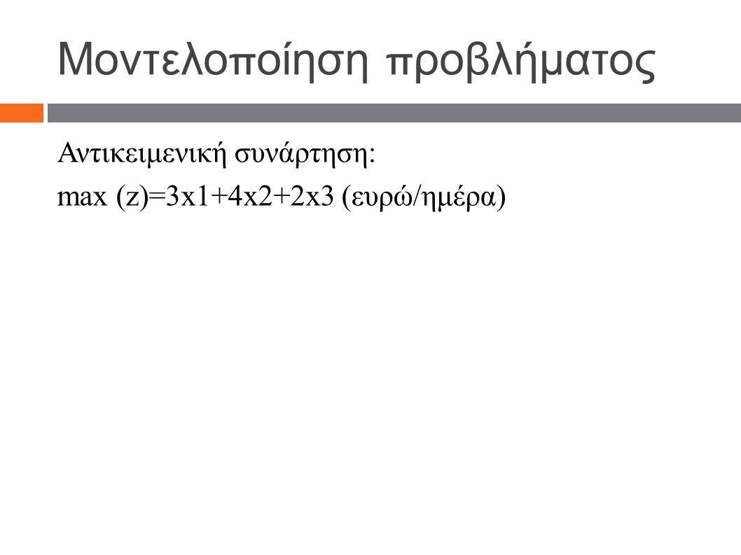 Μοντελο π οίηση π ροβλήματος Αντικειμενική συνάρτηση: max (z)=3x1+4x2+2x3 (ευρώ/ημέρα)