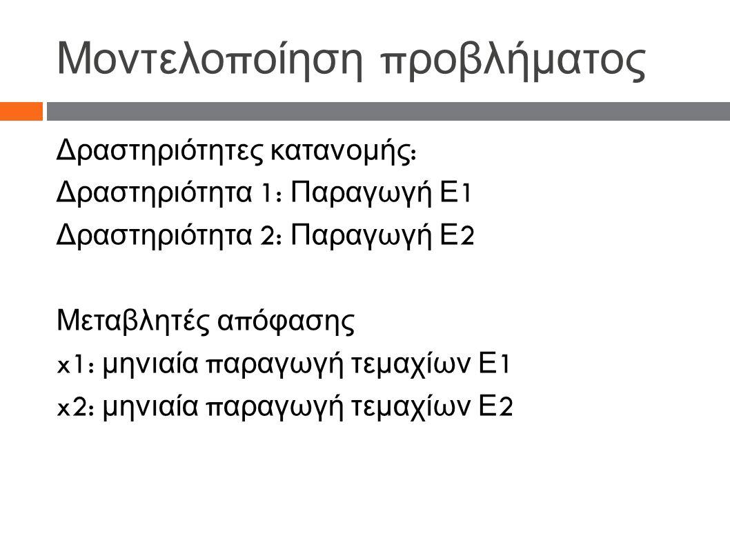 Μοντελο π οίηση π ροβλήματος Δραστηριότητες κατανομής : Δραστηριότητα 1: Παραγωγή Ε 1 Δραστηριότητα 2: Παραγωγή Ε 2 Μεταβλητές α π όφασης x1: μηνιαία