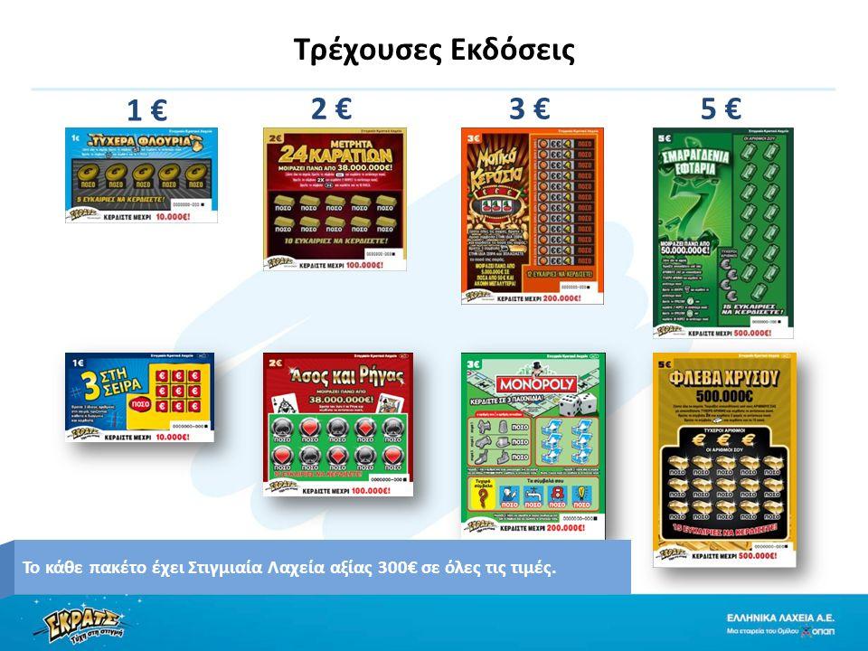 Τρέχουσες Εκδόσεις 1 € 2 €5 €3 € Το κάθε πακέτο έχει Στιγμιαία Λαχεία αξίας 300€ σε όλες τις τιμές.