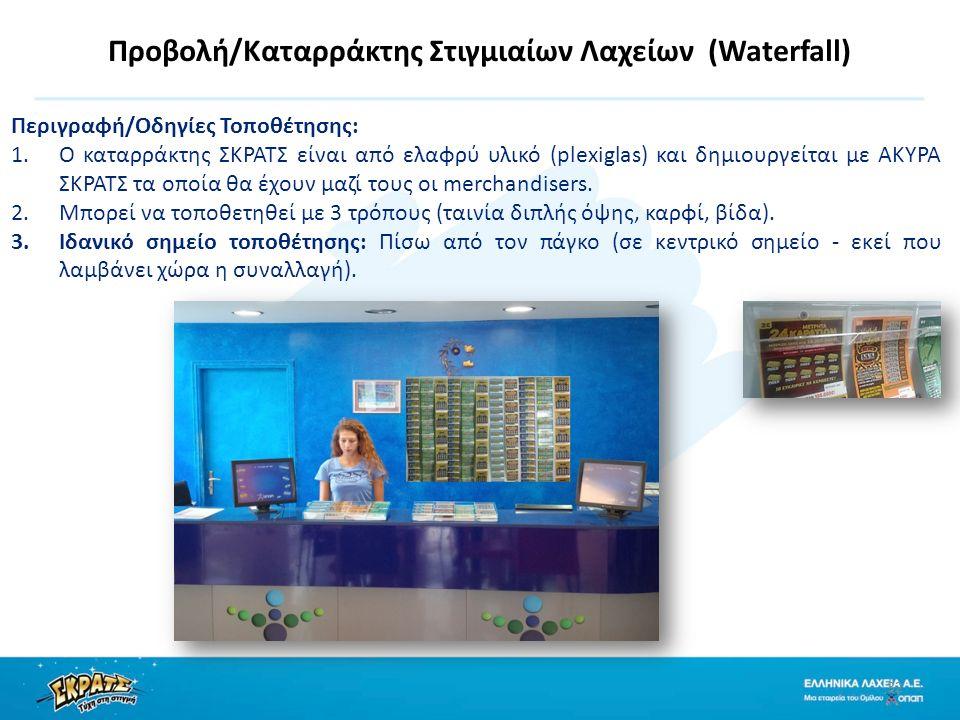 Προβολή/Καταρράκτης Στιγμιαίων Λαχείων (Waterfall) 32 Περιγραφή/Οδηγίες Τοποθέτησης: 1.Ο καταρράκτης ΣΚΡΑΤΣ είναι από ελαφρύ υλικό (plexiglas) και δημιουργείται με ΑΚΥΡΑ ΣΚΡΑΤΣ τα οποία θα έχουν μαζί τους οι merchandisers.