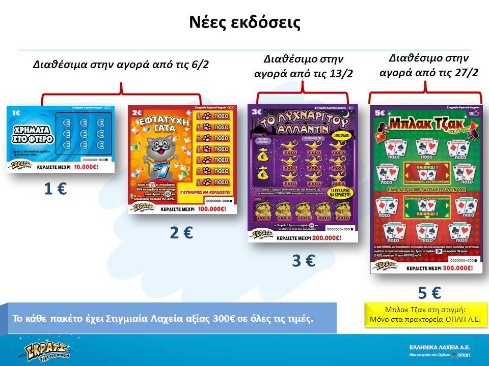 Νέες εκδόσεις 1 € 2 € 5 € 3 € Το κάθε πακέτο έχει Στιγμιαία Λαχεία αξίας 300€ σε όλες τις τιμές.