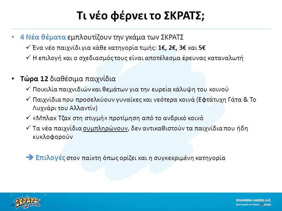 Τι νέο φέρνει το ΣΚΡΑΤΣ; 4 Νέα θέματα εμπλουτίζουν την γκάμα των ΣΚΡΑΤΣ Ένα νέο παιχνίδι για κάθε κατηγορία τιμής: 1€, 2€, 3€ και 5€ Η επιλογή και ο σχεδιασμός τους είναι αποτέλεσμα έρευνας καταναλωτή Τώρα 12 διαθέσιμα παιχνίδια Ποικιλία παιχνιδιών και θεμάτων για την ευρεία κάλυψη του κοινού Παιχνίδια που προσελκύουν γυναίκες και νεότερα κοινά (Εφτάτυχη Γάτα & Το Λυχνάρι του Αλλαντίν) «Μπλακ Τζακ στη στιγμή» προτίμηση από το ανδρικό κοινό Τα νέα παιχνίδια συμπληρώνουν, δεν αντικαθιστούν τα παιχνίδια που ήδη κυκλοφορούν  Επιλογές στον παίκτη όπως ορίζει και η συγκεκριμένη κατηγορία 5