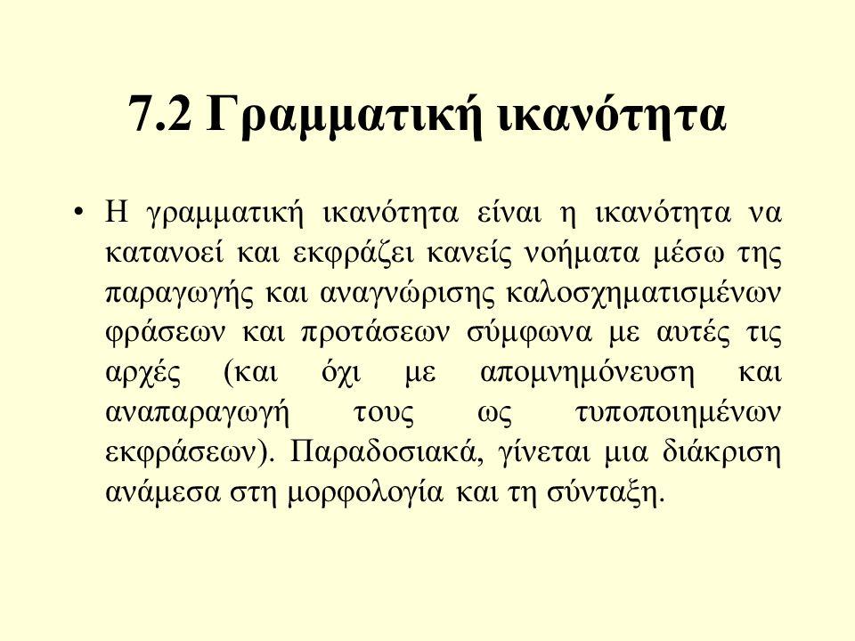 7.2 Γραμματική ικανότητα Η γραμματική ικανότητα είναι η ικανότητα να κατανοεί και εκφράζει κανείς νοήματα μέσω της παραγωγής και αναγνώρισης καλοσχηματισμένων φράσεων και προτάσεων σύμφωνα με αυτές τις αρχές (και όχι με απομνημόνευση και αναπαραγωγή τους ως τυποποιημένων εκφράσεων).
