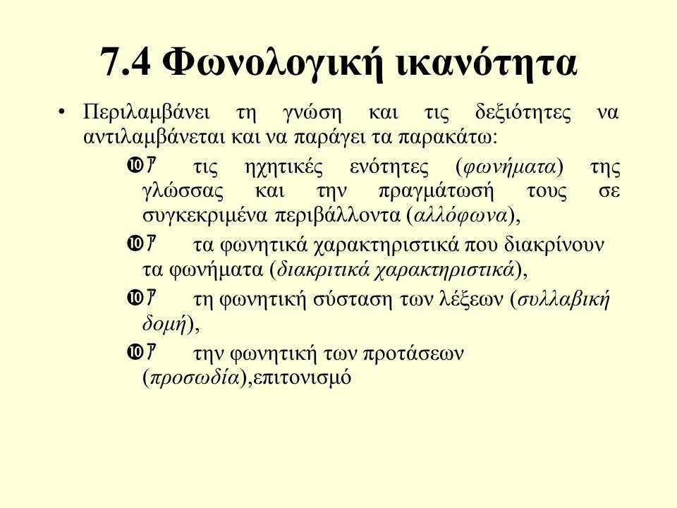 7.4 Φωνολογική ικανότητα Περιλαμβάνει τη γνώση και τις δεξιότητες να αντιλαμβάνεται και να παράγει τα παρακάτω:  ァ τις ηχητικές ενότητες (φωνήματα) της γλώσσας και την πραγμάτωσή τους σε συγκεκριμένα περιβάλλοντα (αλλόφωνα),  ァ τα φωνητικά χαρακτηριστικά που διακρίνουν τα φωνήματα (διακριτικά χαρακτηριστικά),  ァ τη φωνητική σύσταση των λέξεων (συλλαβική δομή),  ァ την φωνητική των προτάσεων (προσωδία),επιτονισμό