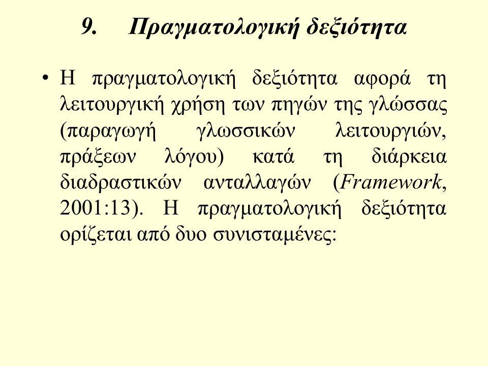 9.Πραγματολογική δεξιότητα Η πραγματολογική δεξιότητα αφορά τη λειτουργική χρήση των πηγών της γλώσσας (παραγωγή γλωσσικών λειτουργιών, πράξεων λόγου) κατά τη διάρκεια διαδραστικών ανταλλαγών (Framework, 2001:13).