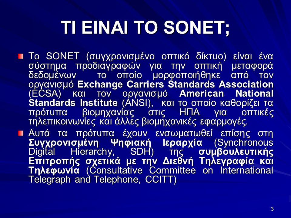 3 ΤΙ ΕΙΝΑΙ TO SONET; Το SONET (συγχρονισμένο οπτικό δίκτυο) είναι ένα σύστημα προδιαγραφών για την οπτική μεταφορά δεδομένων το οποίο μορφοποιήθηκε από τον οργανισμό Exchange Carriers Standards Association (ECSA) και τον οργανισμό American National Standards Institute (ANSI), και το οποίο καθορίζει τα πρότυπα βιομηχανίας στις ΗΠΑ για οπτικές τηλεπικοινωνίες και άλλες βιομηχανικές εφαρμογές.