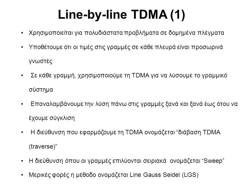 Χρησιμοποιείται για πολυδιάστατα προβλήματα σε δομημένα πλέγματα Υποθέτουμε ότι οι τιμές στις γραμμές σε κάθε πλευρά είναι προσωρινά γνωστές Σε κάθε γραμμή, χρησιμοποιούμε τη TDMA για να λύσουμε το γραμμικό σύστημα Επαναλαμβάνουμε την λύση πάνω στις γραμμές ξανά και ξανά έως ότου να έχουμε σύγκλιση Η διεύθυνση που εφαρμόζουμε τη TDMA ονομάζεται διάβαση TDMA (traverse) Η διεύθυνση όπου οι γραμμές επιλύονται σειριακά ονομάζεται Sweep Μερικές φορές η μέθοδο ονομάζεται Line Gauss Seidel (LGS) Line-by-line TDMA (1)
