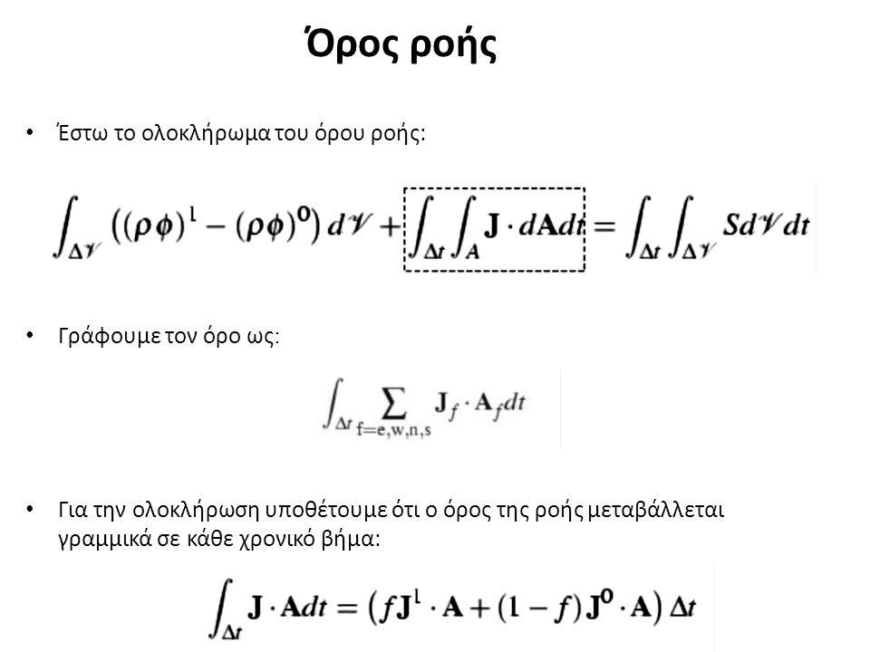Όρος ροής Έστω το ολοκλήρωμα του όρου ροής: Γράφουμε τον όρο ως : Για την ολοκλήρωση υποθέτουμε ότι ο όρος της ροής μεταβάλλεται γραμμικά σε κάθε χρονικό βήμα: