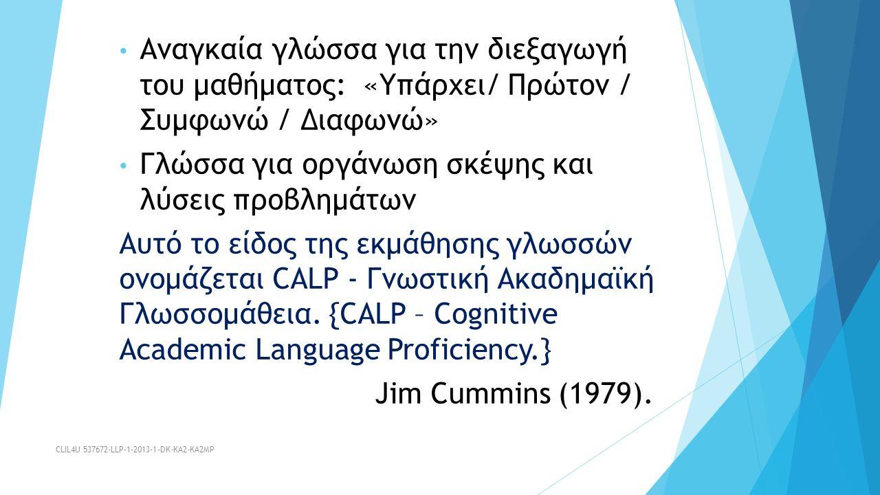 Αναγκαία γλώσσα για την διεξαγωγή του μαθήματος: «Υπάρχει/ Πρώτον / Συμφωνώ / Διαφωνώ» Γλώσσα για οργάνωση σκέψης και λύσεις προβλημάτων Αυτό το είδος της εκμάθησης γλωσσών ονομάζεται CALP - Γνωστική Ακαδημαϊκή Γλωσσομάθεια.