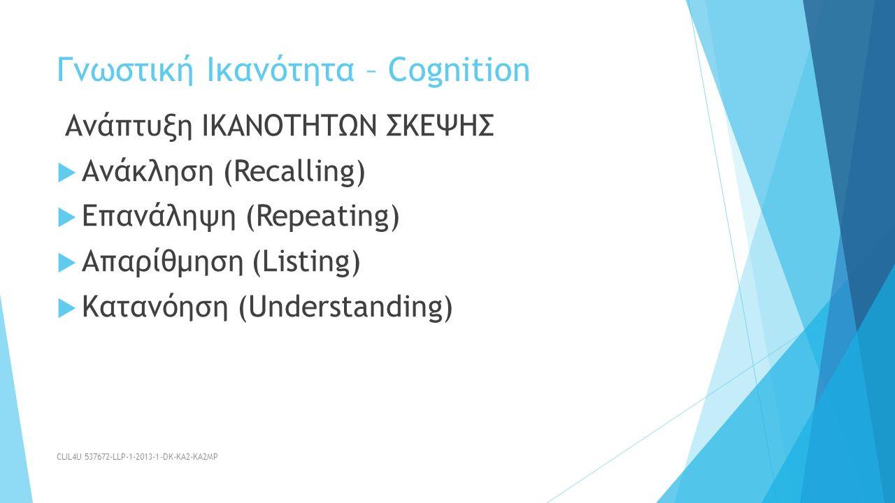 Ανάπτυξη ΙΚΑΝΟΤΗΤΩΝ ΣΚΕΨΗΣ  Ανάκληση (Recalling)  Επανάληψη (Repeating)  Απαρίθμηση (Listing)  Κατανόηση (Understanding) Γνωστική Ικανότητα – Cognition CLIL4U 537672-LLP-1-2013-1-DK-KA2-KA2MP