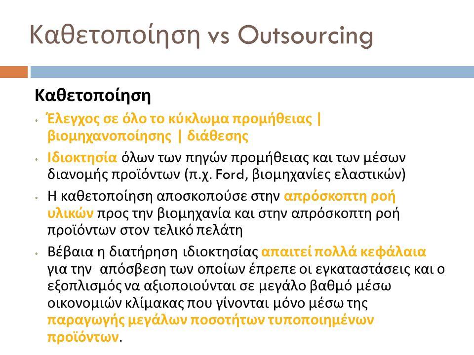 Καθετοποίηση vs Outsourcing Καθετοποίηση Έλεγχος σε όλο το κύκλωμα προμήθειας | βιομηχανοποίησης | διάθεσης Ιδιοκτησία όλων των πηγών προμήθειας και τ