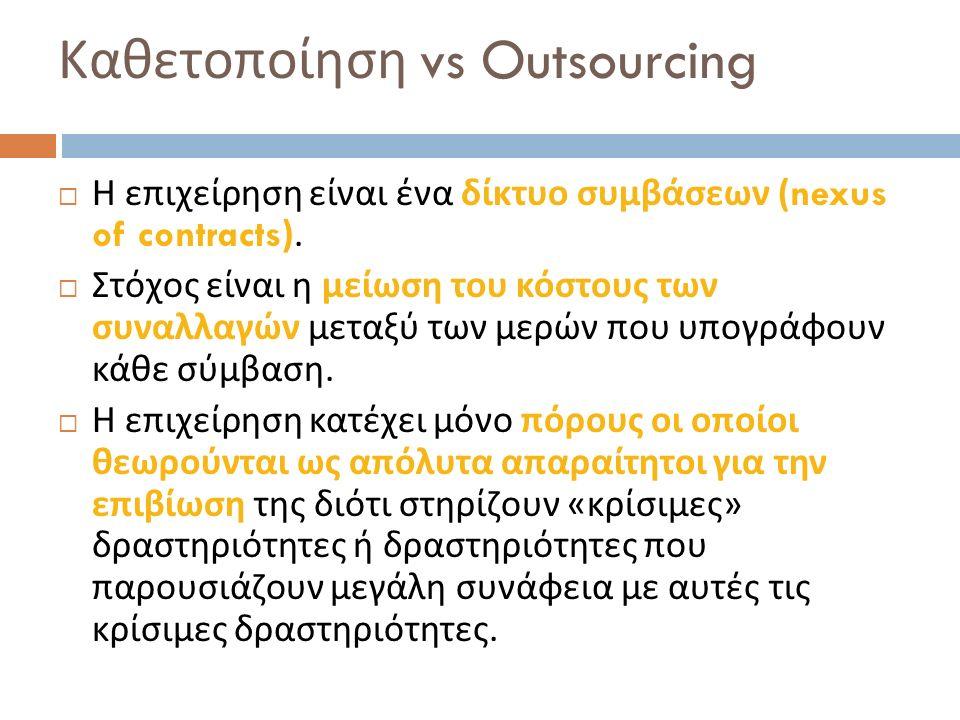 Καθετοποίηση vs Outsourcing  Η επιχείρηση είναι ένα δίκτυο συμβάσεων (nexus of contracts).  Στόχος είναι η μείωση του κόστους των συναλλαγών μεταξύ