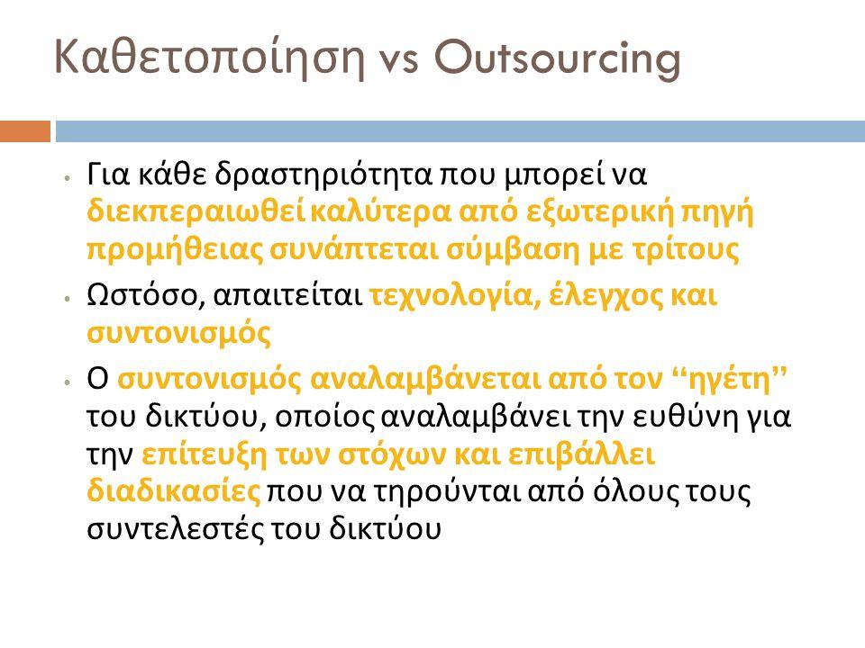 Καθετοποίηση vs Outsourcing Για κάθε δραστηριότητα που μπορεί να διεκπεραιωθεί καλύτερα από εξωτερική πηγή προμήθειας συνάπτεται σύμβαση με τρίτους Ωσ