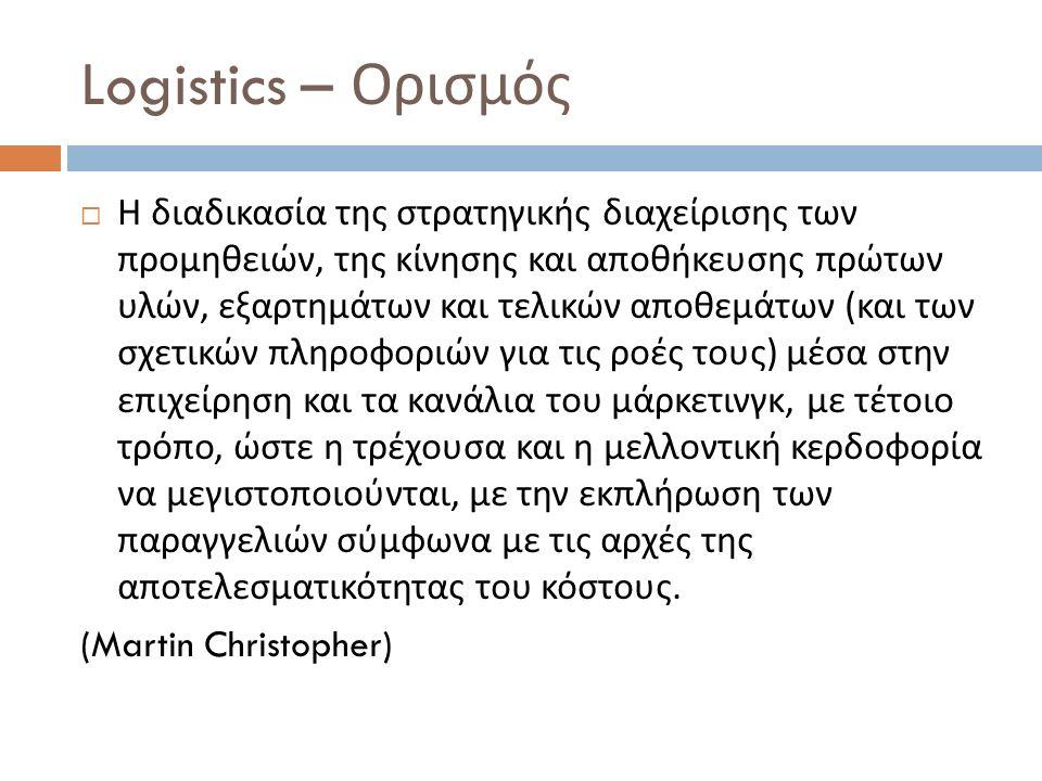 Logistics – Ορισμός  Η διαδικασία της στρατηγικής διαχείρισης των προμηθειών, της κίνησης και αποθήκευσης πρώτων υλών, εξαρτημάτων και τελικών αποθεμ