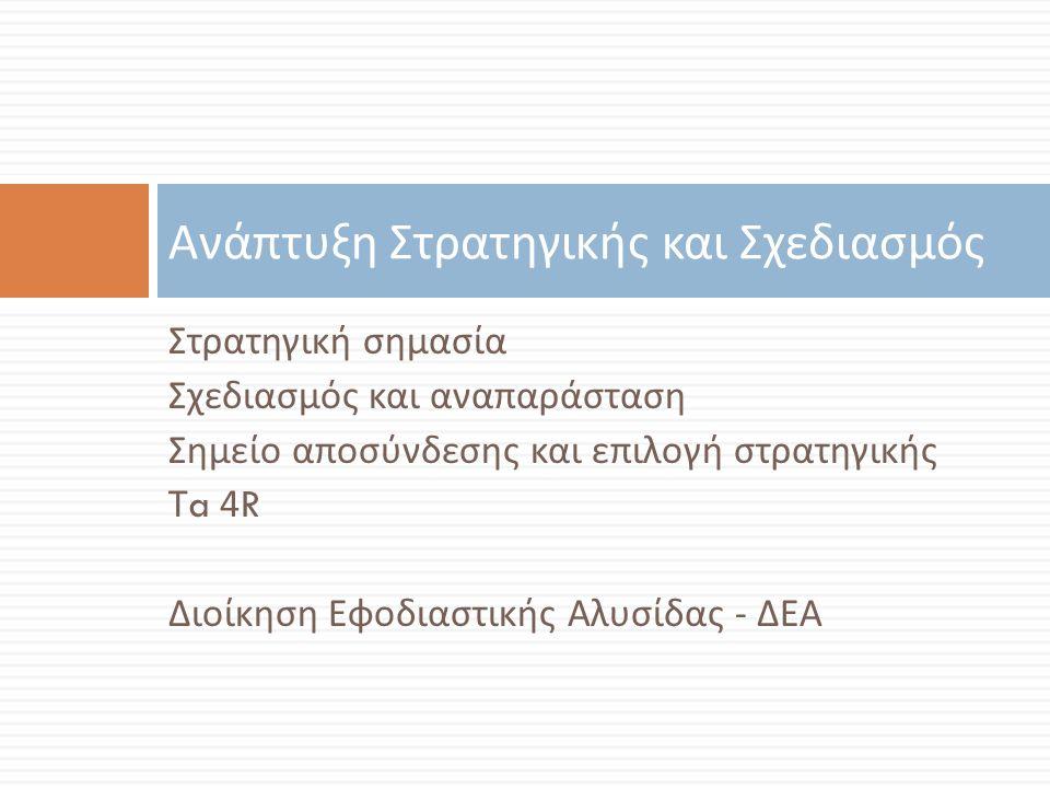 Στρατηγική σημασία Σχεδιασμός και αναπαράσταση Σημείο αποσύνδεσης και επιλογή στρατηγικής Τ a 4R Διοίκηση Εφοδιαστικής Αλυσίδας - ΔΕΑ Ανάπτυξη Στρατηγ