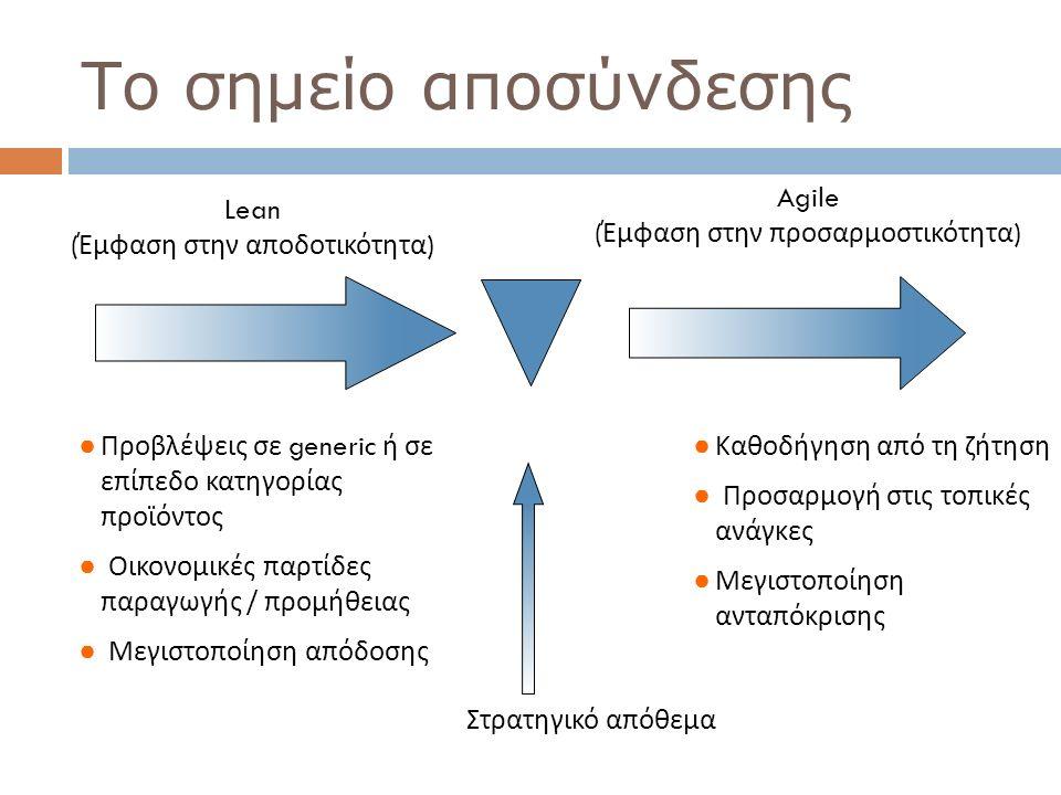 Lean ( Έμφαση στην αποδοτικότητα ) ● Προβλέψεις σε generic ή σε επίπεδο κατηγορίας προϊόντος ● Οικονομικές παρτίδες παραγωγής / προμήθειας ● Μεγιστοπο