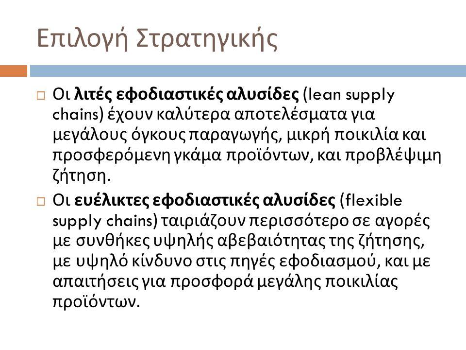 Επιλογή Στρατηγικής  Οι λιτές εφοδιαστικές αλυσίδες (lean supply chains) έχουν καλύτερα αποτελέσματα για μεγάλους όγκους παραγωγής, μικρή ποικιλία κα
