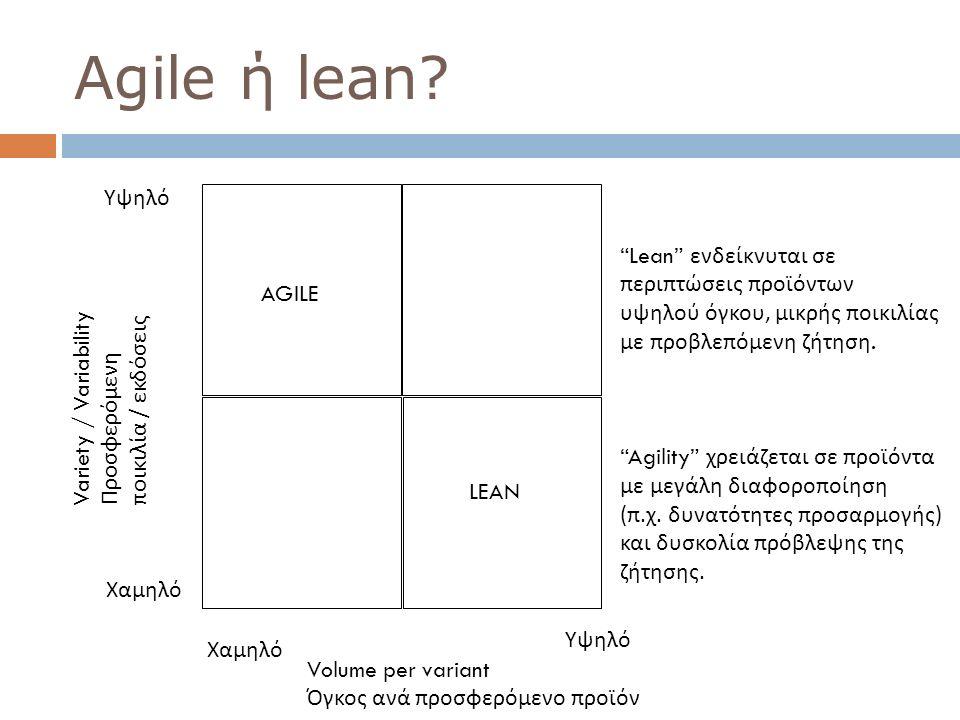 "76 AGILE LEAN Υψηλό Χαμηλό Volume per variant Όγκος ανά προσφερόμενο προϊόν Variety / Variability Προσφερόμενη ποικιλία / εκδόσεις ""Lean"" ενδείκνυται"