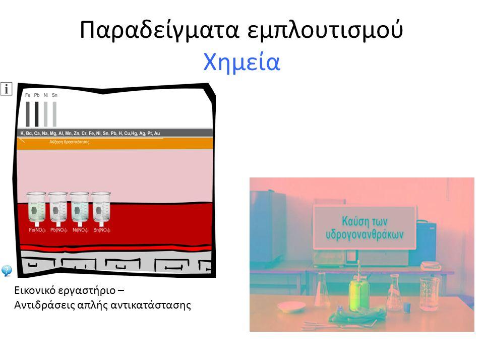 Παραδείγματα εμπλουτισμού Χημεία Εικονικό εργαστήριο – Αντιδράσεις απλής αντικατάστασης