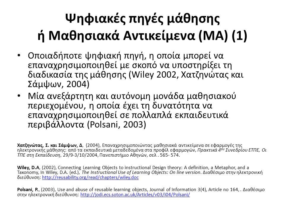 Ψηφιακές πηγές μάθησης ή Μαθησιακά Αντικείμενα (ΜΑ) (1) Οποιαδήποτε ψηφιακή πηγή, η οποία μπορεί να επαναχρησιμοποιηθεί με σκοπό να υποστηρίξει τη διαδικασία της μάθησης (Wiley 2002, Χατζηνώτας και Σάμψων, 2004) Μία ανεξάρτητη και αυτόνομη μονάδα μαθησιακού περιεχομένου, η οποία έχει τη δυνατότητα να επαναχρησιμοποιηθεί σε πολλαπλά εκπαιδευτικά περιβάλλοντα (Polsani, 2003) Χατζηνώτας, Σ.