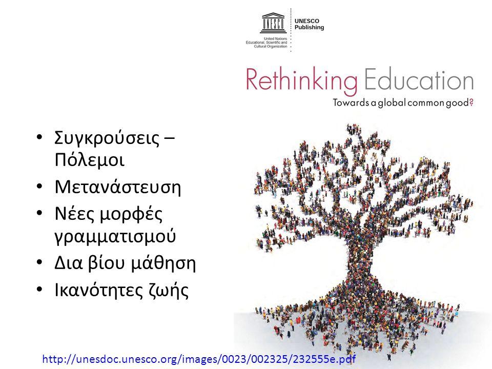 Συγκρούσεις – Πόλεμοι Μετανάστευση Νέες μορφές γραμματισμού Δια βίου μάθηση Ικανότητες ζωής http://unesdoc.unesco.org/images/0023/002325/232555e.pdf