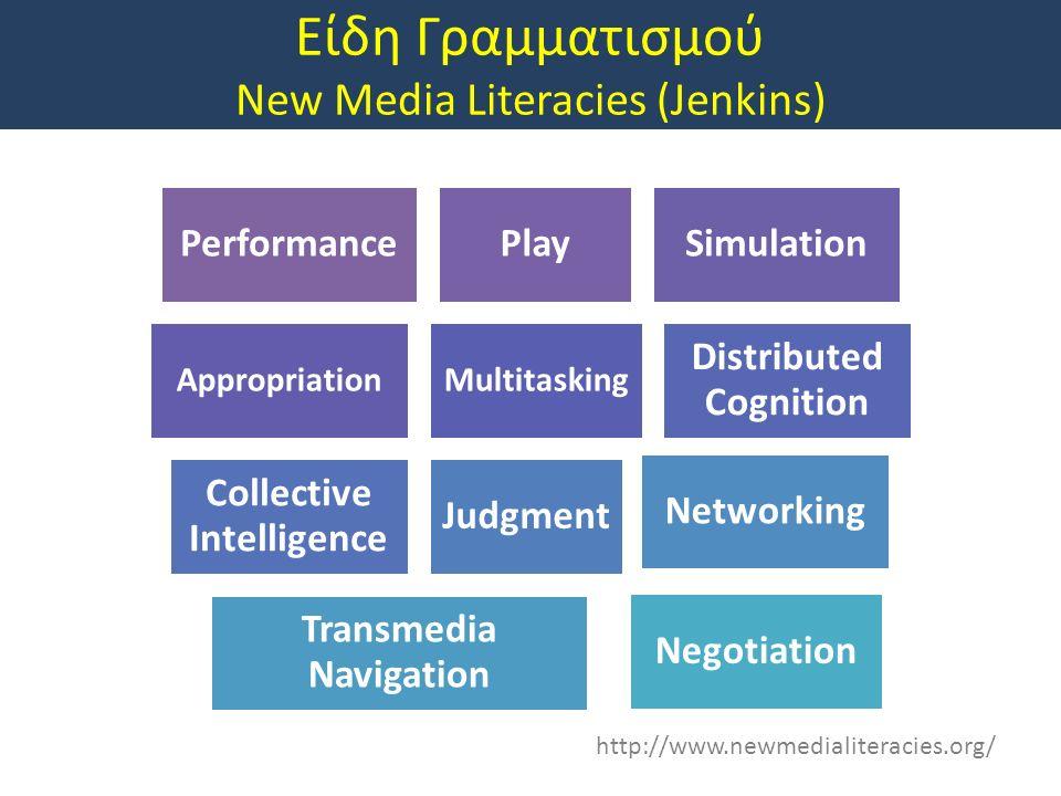 Είδη Γραμματισμού New Media Literacies (Jenkins) http://www.newmedialiteracies.org/