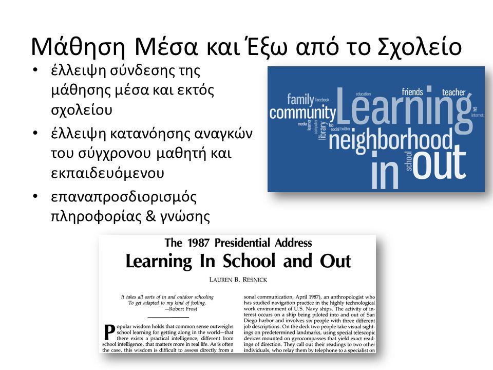 Μάθηση Μέσα και Έξω από το Σχολείο έλλειψη σύνδεσης της μάθησης μέσα και εκτός σχολείου έλλειψη κατανόησης αναγκών του σύγχρονου μαθητή και εκπαιδευόμενου επαναπροσδιορισμός πληροφορίας & γνώσης