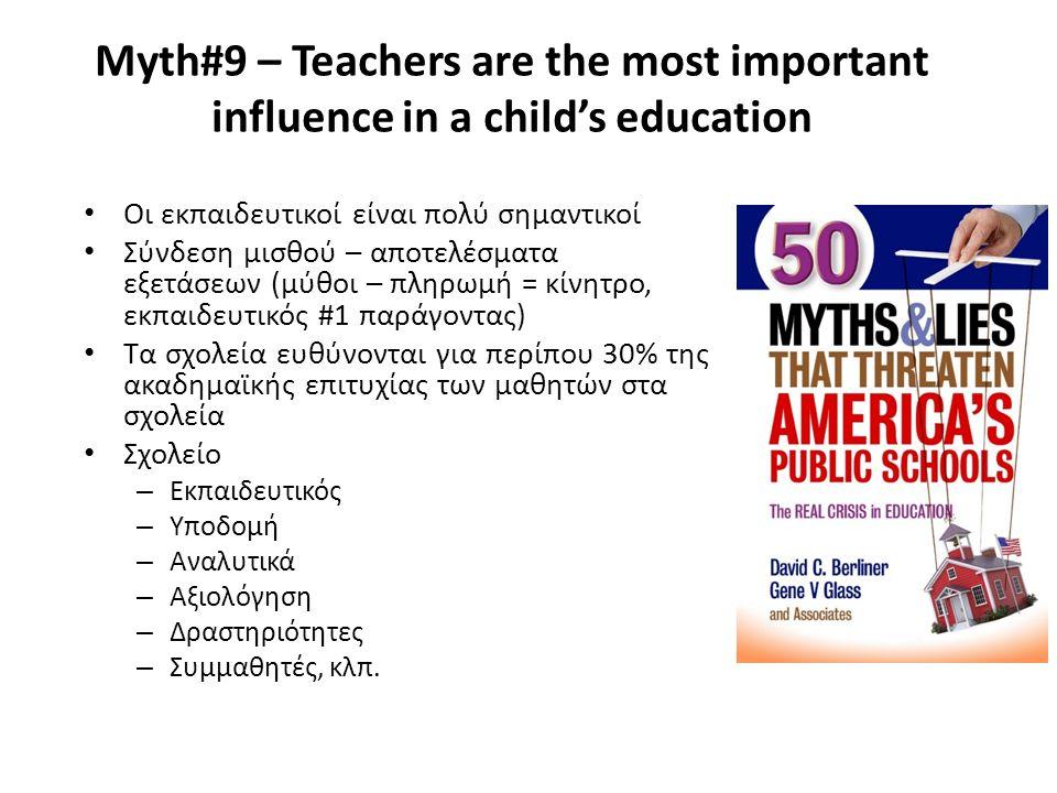 Myth#9 – Teachers are the most important influence in a child's education Οι εκπαιδευτικοί είναι πολύ σημαντικοί Σύνδεση μισθού – αποτελέσματα εξετάσεων (μύθοι – πληρωμή = κίνητρο, εκπαιδευτικός #1 παράγοντας) Τα σχολεία ευθύνονται για περίπου 30% της ακαδημαϊκής επιτυχίας των μαθητών στα σχολεία Σχολείο – Εκπαιδευτικός – Υποδομή – Αναλυτικά – Αξιολόγηση – Δραστηριότητες – Συμμαθητές, κλπ.