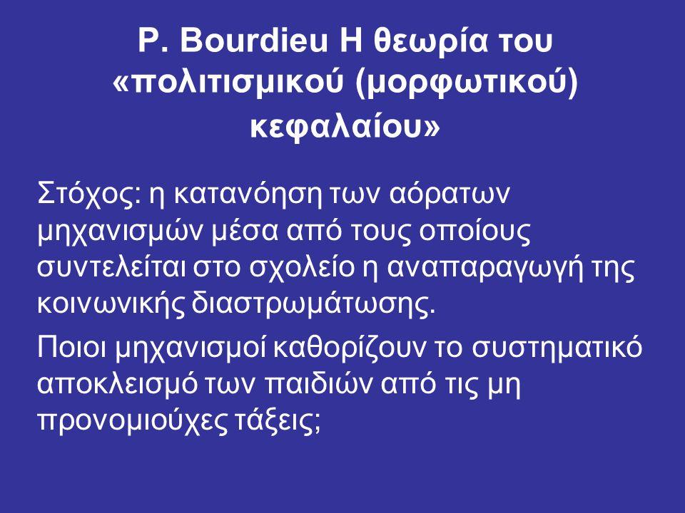 P. Bourdieu Η θεωρία του «πολιτισμικού (μορφωτικού) κεφαλαίου» Στόχος: η κατανόηση των αόρατων μηχανισμών μέσα από τους οποίους συντελείται στο σχολεί