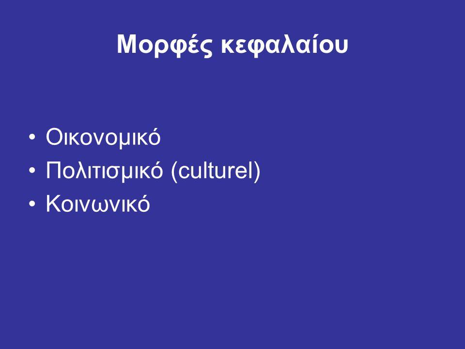 Μορφές κεφαλαίου Οικονομικό Πολιτισμικό (culturel) Κοινωνικό