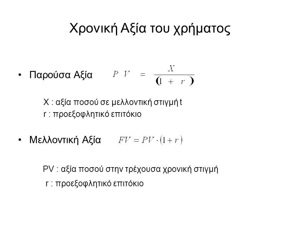Χρονική Αξία του χρήματος Παρούσα Αξία X : αξία ποσού σε μελλοντική στιγμή t r : προεξοφλητικό επιτόκιο Μελλοντική Αξία PV : αξία ποσού στην τρέχουσα χρονική στιγμή r : προεξοφλητικό επιτόκιο