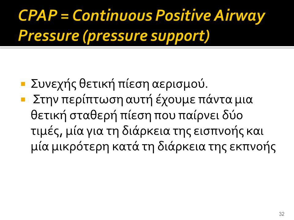  Συνεχής θετική πίεση αερισμού.  Στην περίπτωση αυτή έχουμε πάντα μια θετική σταθερή πίεση που παίρνει δύο τιμές, μία για τη διάρκεια της εισπνοής κ