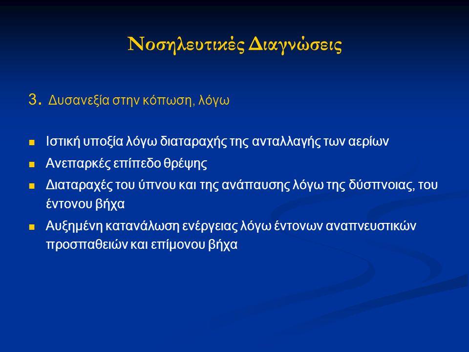 3. Δυσανεξία στην κόπωση, λόγω Ιστική υποξία λόγω διαταραχής της ανταλλαγής των αερίων Ανεπαρκές επίπεδο θρέψης Διαταραχές του ύπνου και της ανάπαυσης