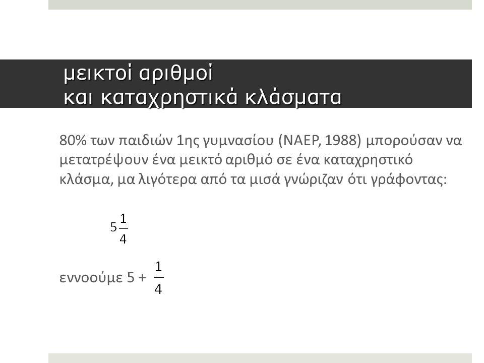 μεικτοί αριθμοί και καταχρηστικά κλάσματα 80% των παιδιών 1ης γυμνασίου (NAEP, 1988) μπορούσαν να μετατρέψουν ένα μεικτό αριθμό σε ένα καταχρηστικό κλάσμα, μα λιγότερα από τα μισά γνώριζαν ότι γράφοντας: εννοούμε 5 +