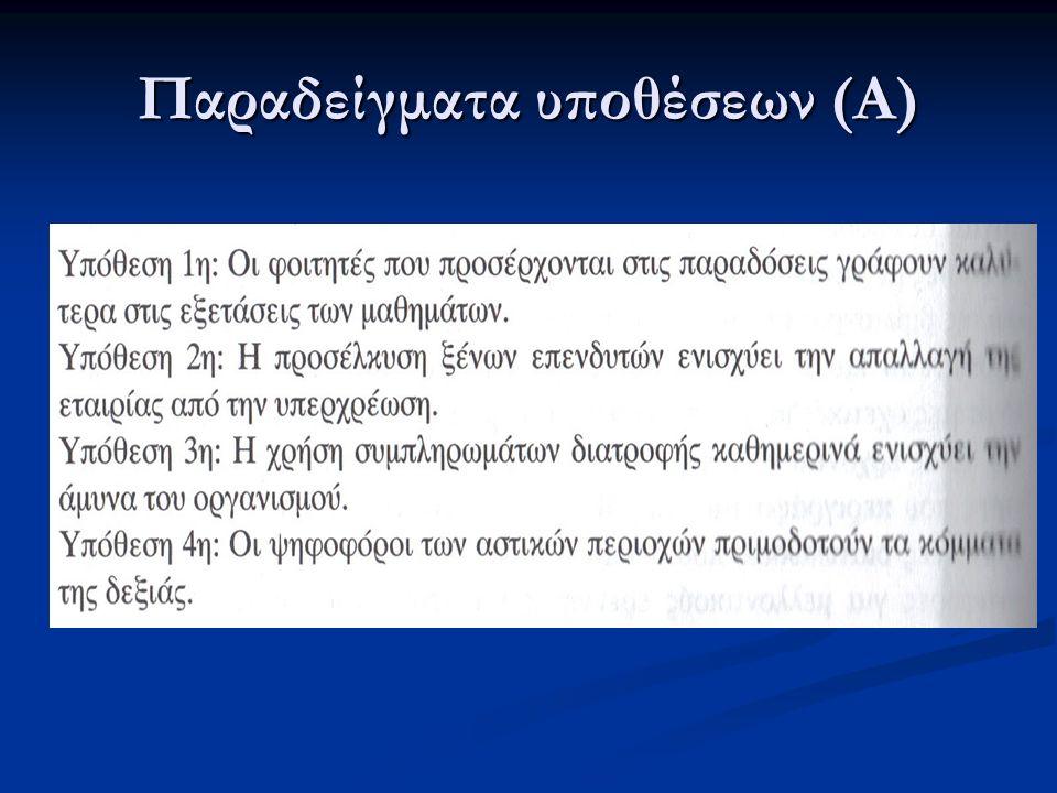Παραδείγματα υποθέσεων (Α)