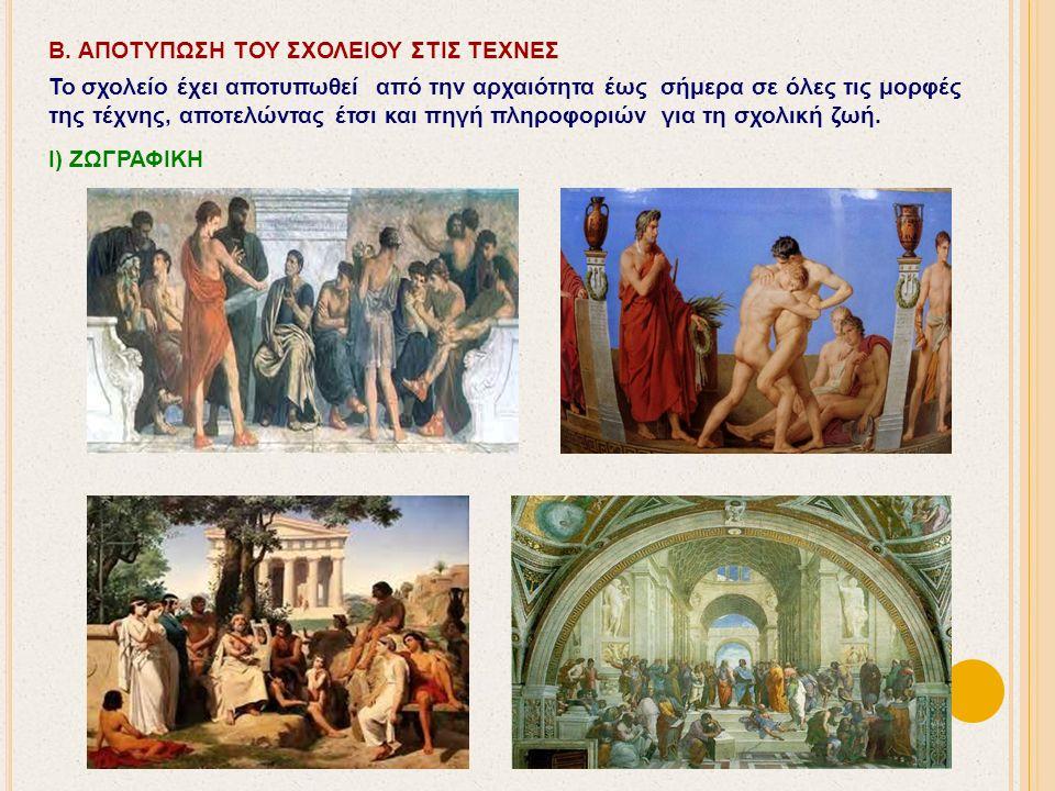 Β. ΑΠΟΤΥΠΩΣΗ ΤΟΥ ΣΧΟΛΕΙΟΥ ΣΤΙΣ ΤΕΧΝΕΣ Το σχολείο έχει αποτυπωθεί από την αρχαιότητα έως σήμερα σε όλες τις μορφές της τέχνης, αποτελώντας έτσι και πηγ