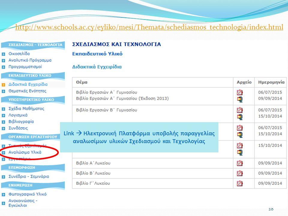 28 Link  Ηλεκτρονική Πλατφόρμα υποβολής παραγγελίας αναλωσίμων υλικών Σχεδιασμού και Τεχνολογίας http://www.schools.ac.cy/eyliko/mesi/Themata/schediasmos_technologia/index.html