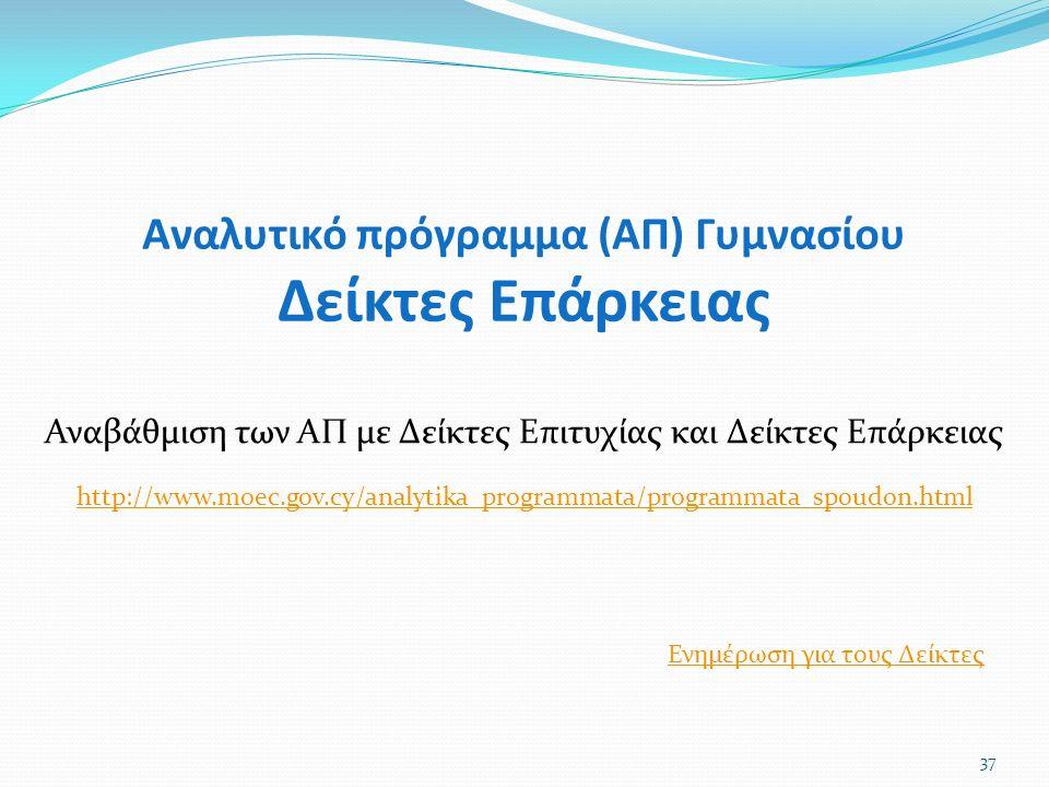 Αναλυτικό πρόγραμμα (ΑΠ) Γυμνασίου Δείκτες Επάρκειας 37 Αναβάθμιση των ΑΠ με Δείκτες Επιτυχίας και Δείκτες Επάρκειας Ενημέρωση για τους Δείκτες http://www.moec.gov.cy/analytika_programmata/programmata_spoudon.html