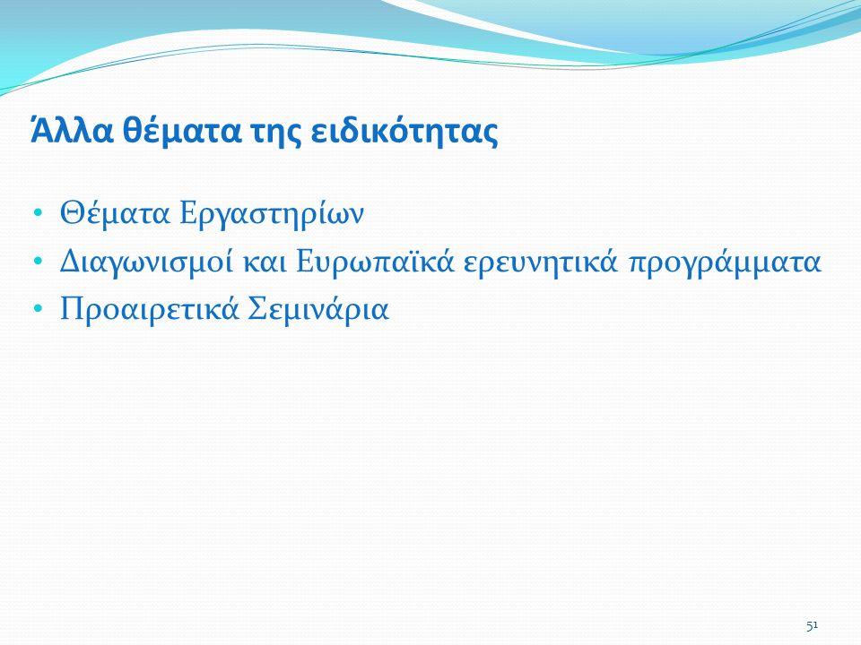 Άλλα θέματα της ειδικότητας Θέματα Εργαστηρίων Διαγωνισμοί και Ευρωπαϊκά ερευνητικά προγράμματα Προαιρετικά Σεμινάρια 51