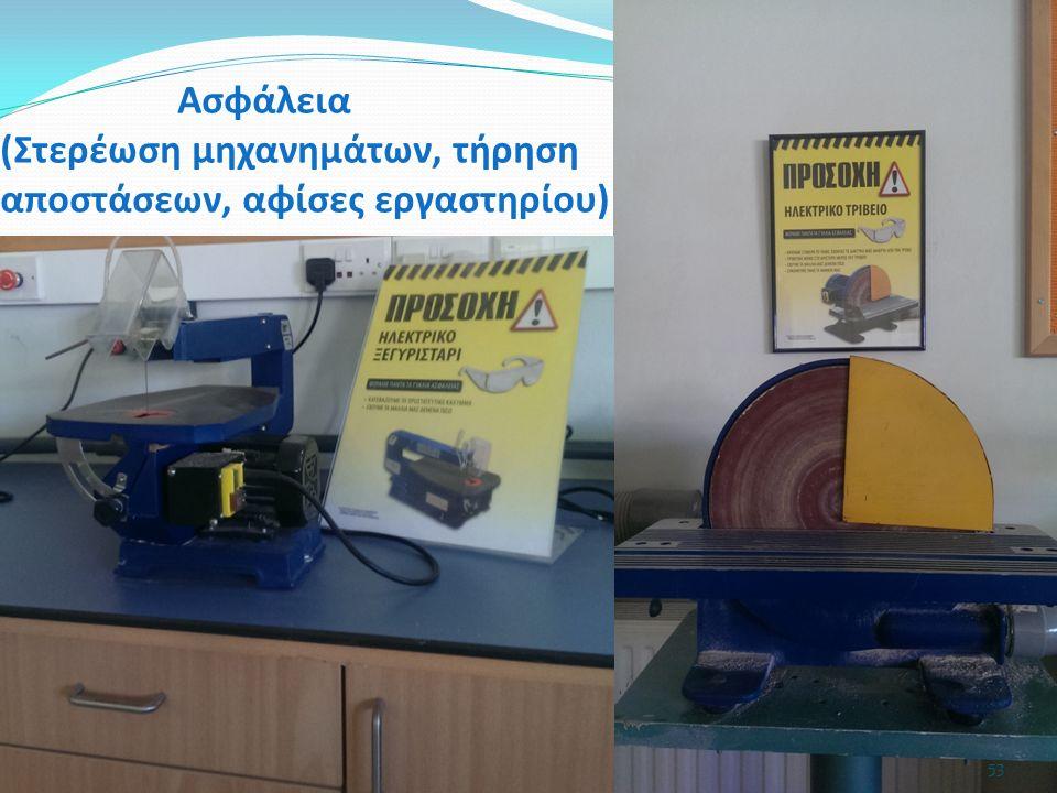 53 Ασφάλεια (Στερέωση μηχανημάτων, τήρηση αποστάσεων, αφίσες εργαστηρίου)