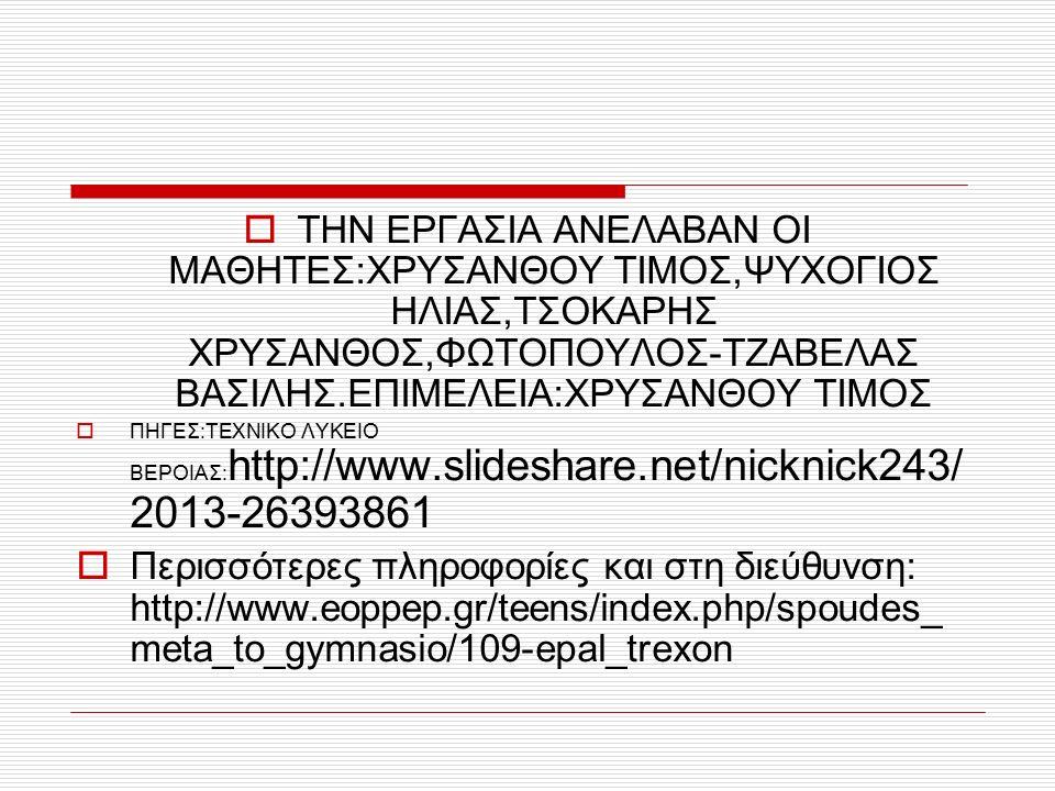  ΤΗΝ ΕΡΓΑΣΙΑ ΑΝΕΛΑΒΑΝ ΟΙ ΜΑΘΗΤΕΣ:ΧΡΥΣΑΝΘΟΥ ΤΙΜΟΣ,ΨΥΧΟΓΙΟΣ ΗΛΙΑΣ,ΤΣΟΚΑΡΗΣ ΧΡΥΣΑΝΘΟΣ,ΦΩΤΟΠΟΥΛΟΣ-ΤΖΑΒΕΛΑΣ ΒΑΣΙΛΗΣ.ΕΠΙΜΕΛΕΙΑ:ΧΡΥΣΑΝΘΟΥ ΤΙΜΟΣ  ΠΗΓΕΣ:ΤΕΧΝΙΚΟ ΛΥΚΕΙΟ ΒΕΡΟΙΑΣ: http://www.slideshare.net/nicknick243/ 2013-26393861  Περισσότερες πληροφορίες και στη διεύθυνση: http://www.eoppep.gr/teens/index.php/spoudes_ meta_to_gymnasio/109-epal_trexon