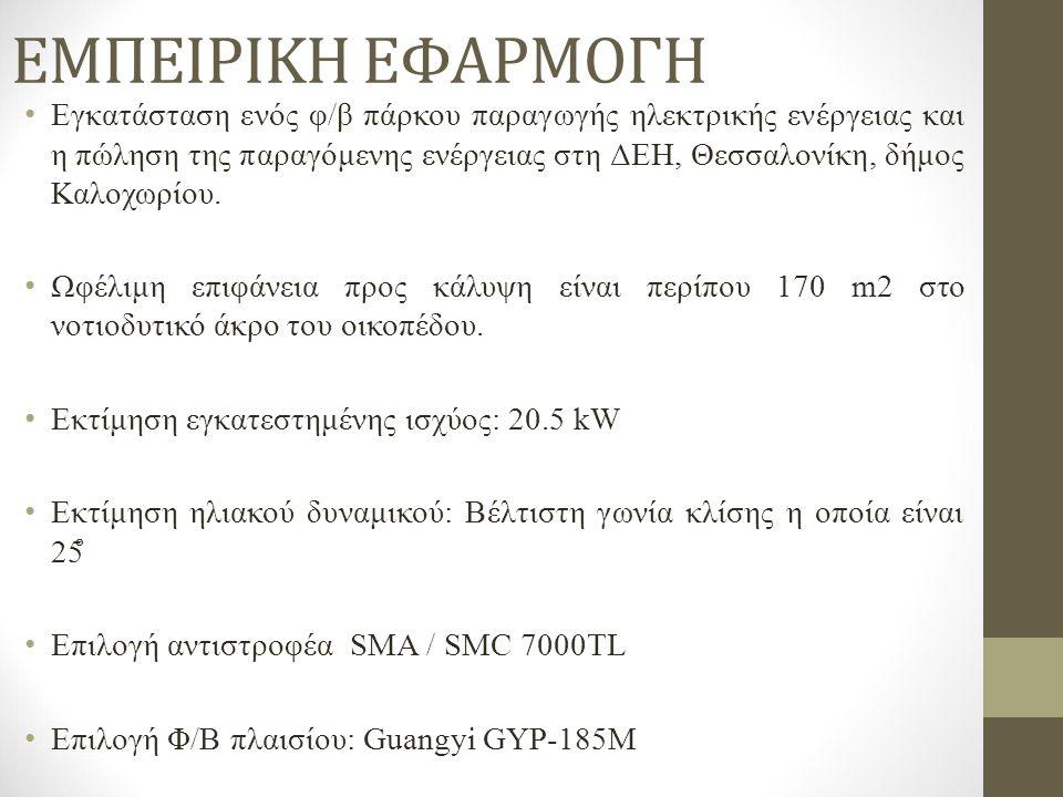 ΕΜΠΕΙΡΙΚΗ ΕΦΑΡΜΟΓΗ Εγκατάσταση ενός φ/β πάρκου παραγωγής ηλεκτρικής ενέργειας και η πώληση της παραγόμενης ενέργειας στη ΔΕΗ, Θεσσαλονίκη, δήμος Καλοχωρίου.