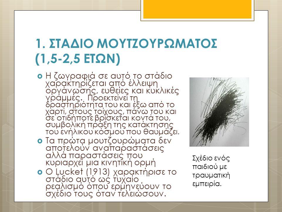 1. ΣΤΑΔΙΟ ΜΟΥΤΖΟΥΡΩΜΑΤΟΣ (1,5-2,5 ΕΤΩΝ)  Η ζωγραφιά σε αυτό το στάδιο χαρακτηρίζεται από έλλειψη οργάνωσης, ευθείες και κυκλικές γραµµές. Προεκτείνει