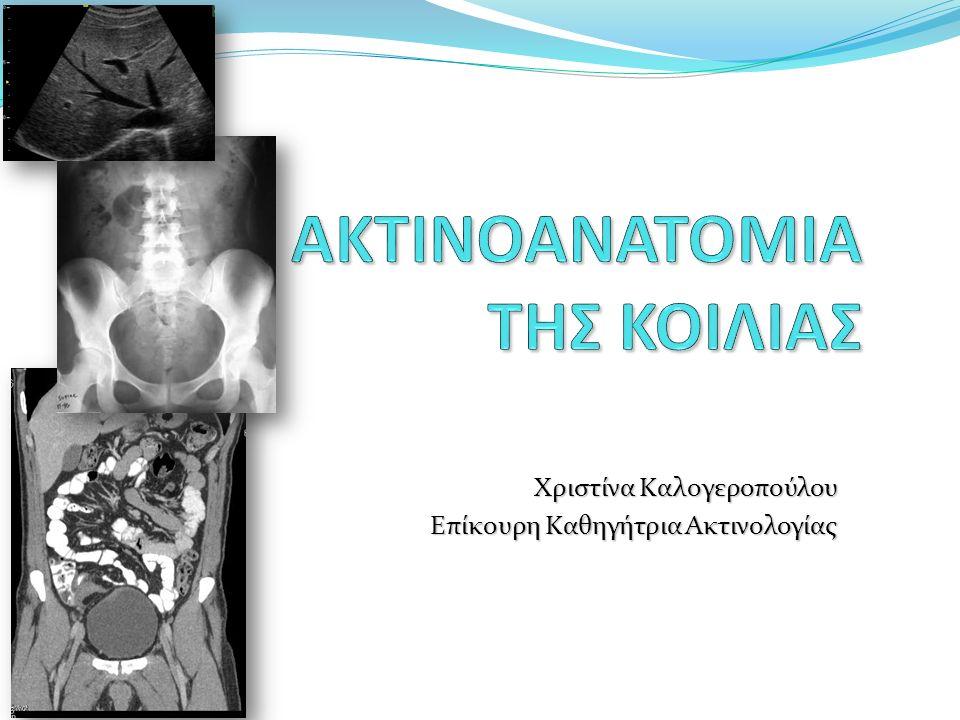 Απεικονιστικές μέθοδοι Απλές Ακτινογραφίες Θώρακος Ειδικές απεικονιστικές εξετάσεις με τη χορήγηση αέρα και διαλυμάτων βαρίου (ή γαστρογραφίνης) Ακτινολογικός έλεγχος ανώτερου πεπτικού (Βαριούχο γεύμα) Εντερόκλυση Βαριούχος υποκλυσμός Αξονική τομογραφία CT enteroclysis CT colonoscopy Μαγνητική τομογραφία MR enteroclysis Υπέρηχοι