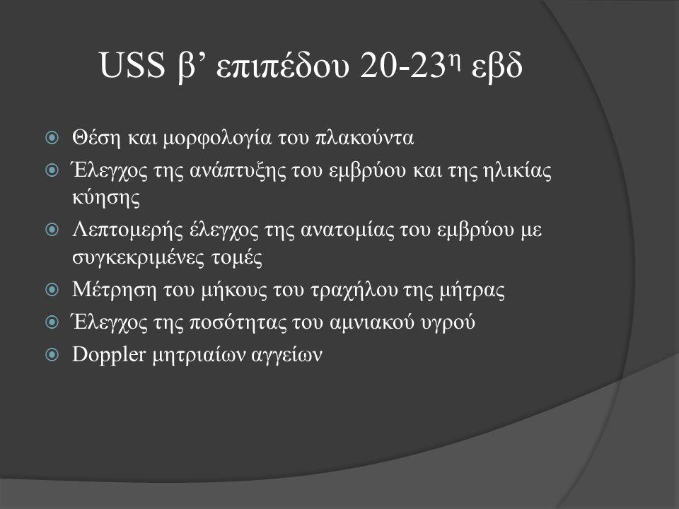 USS β' επιπέδου 20-23 η εβδ  Θέση και μορφολογία του πλακούντα  Έλεγχος της ανάπτυξης του εμβρύου και της ηλικίας κύησης  Λεπτομερής έλεγχος της ανατομίας του εμβρύου με συγκεκριμένες τομές  Μέτρηση του μήκους του τραχήλου της μήτρας  Έλεγχος της ποσότητας του αμνιακού υγρού  Doppler μητριαίων αγγείων